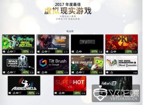Steam2017年度最佳/畅销VR游戏出炉:国产六款大作登榜!《superhotVR》老将坚挺,《辐射4VR》实力上榜铂金级