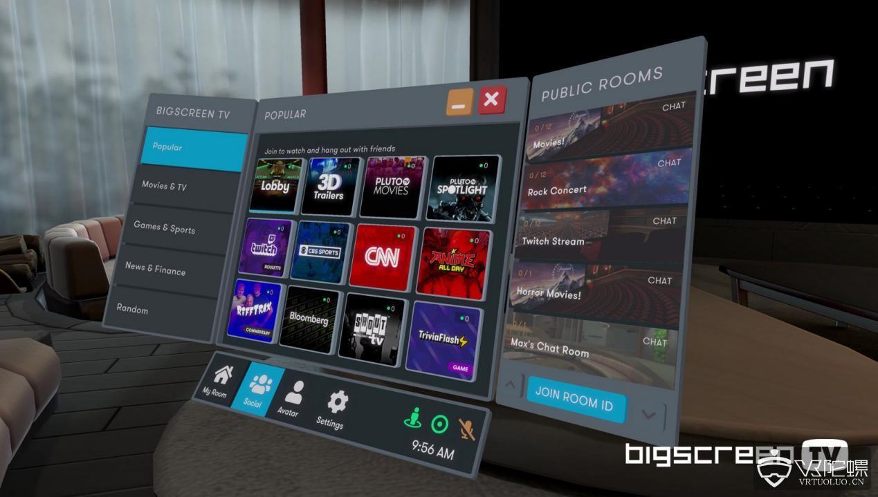 社交VR平台Bigscreen宣布增添50多个免费电视直播频道