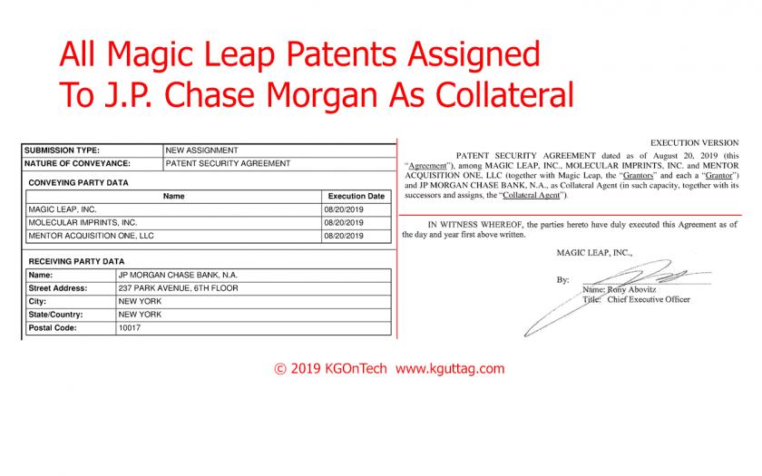 外媒:Magic Leap向摩根大通抵押所有专利