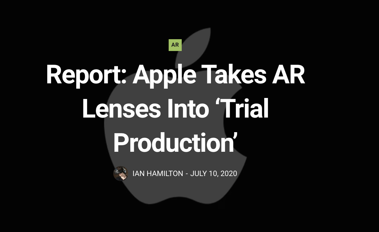 外媒:苹果AR光学透镜已进入试生产阶段