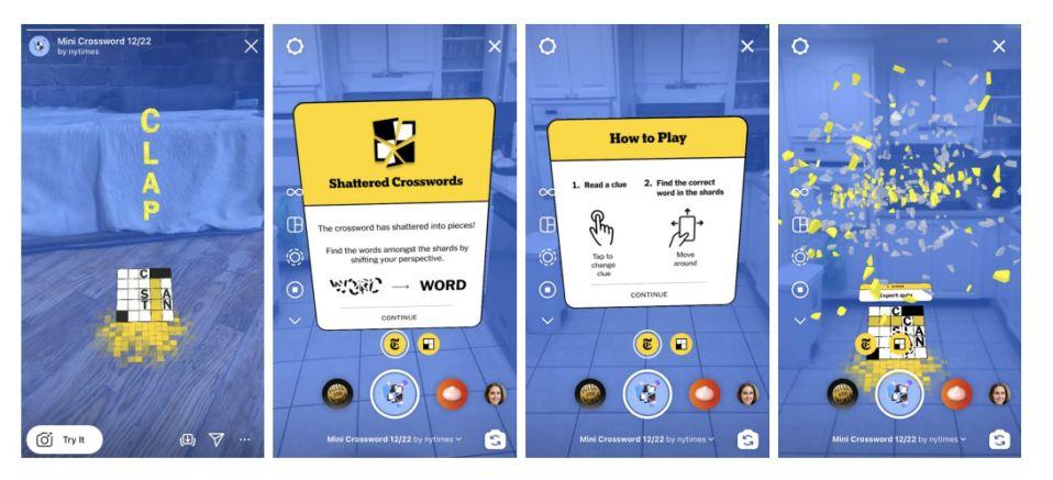 《纽约时报》宣布与Facebook合作在Instagram上推出AR填字游戏