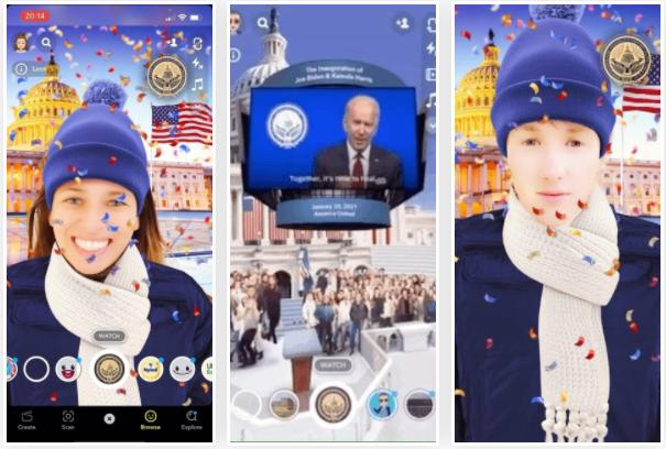 《Snapchat》添加新滤镜让用户亲临拜登总统就职典礼