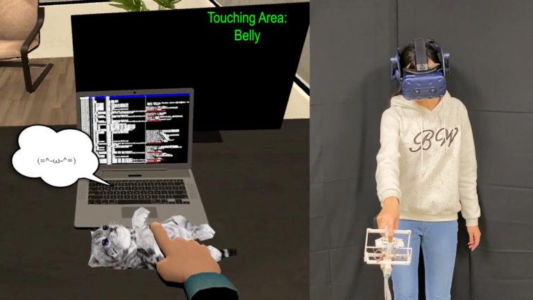 """中国台湾研究团队推HairTouch VR手柄,可模拟真实""""撸猫""""触感"""