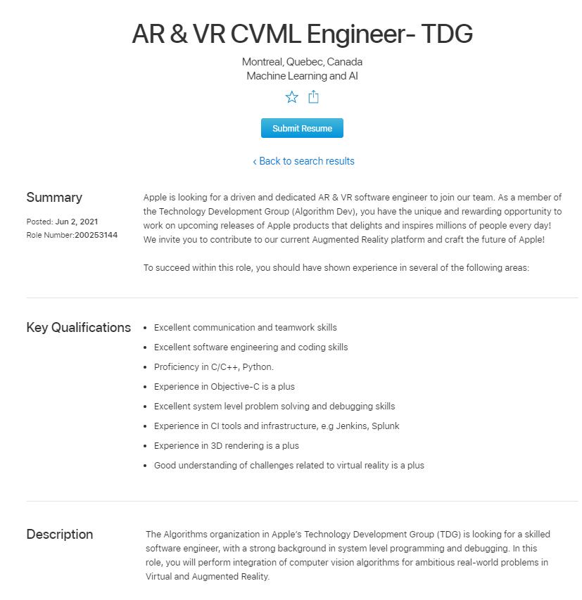 苹果更新AR/VR软件工程师招聘公告