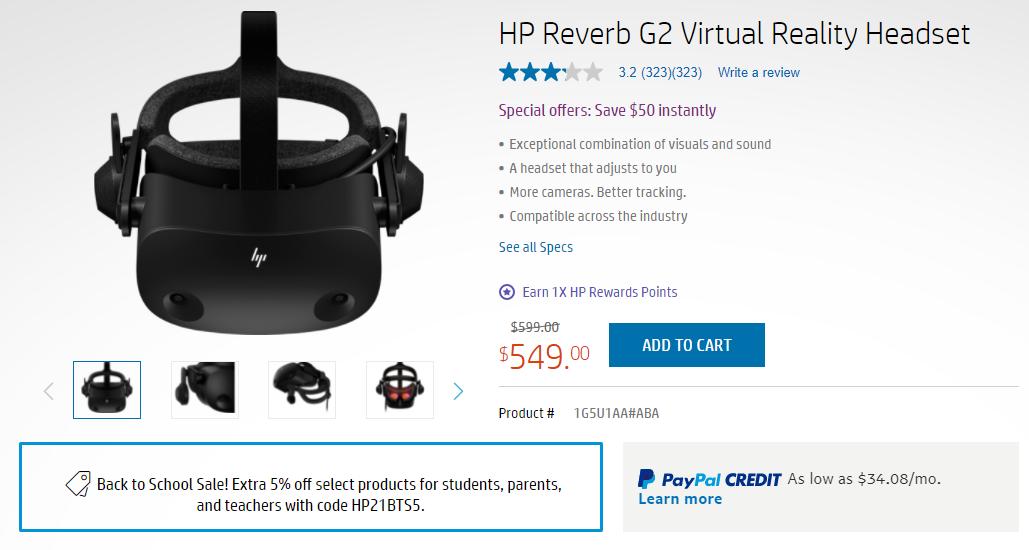VR头显惠普Reverb G2限时优惠,售价为549美元